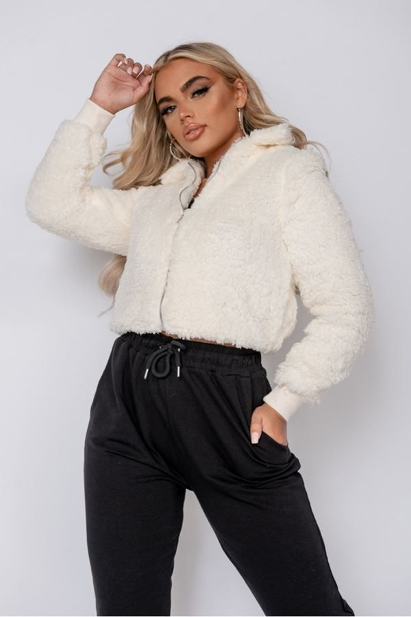 JACKET BORG FAUX FUR CREAM PARN12626