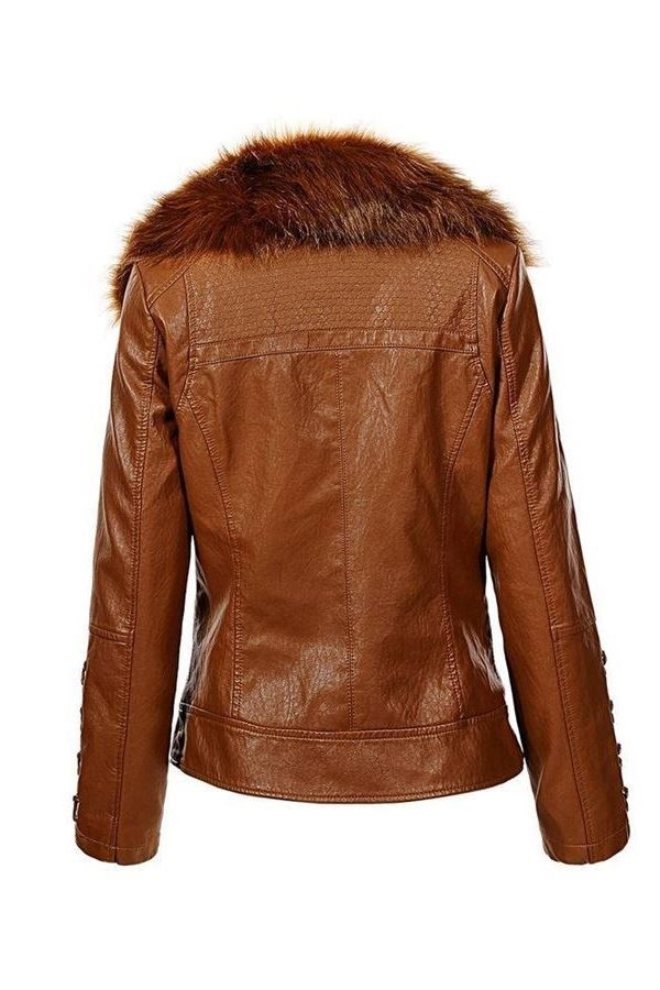 JACKET FUR LAPEL LEATHERETTE CAMEL FSWY67341