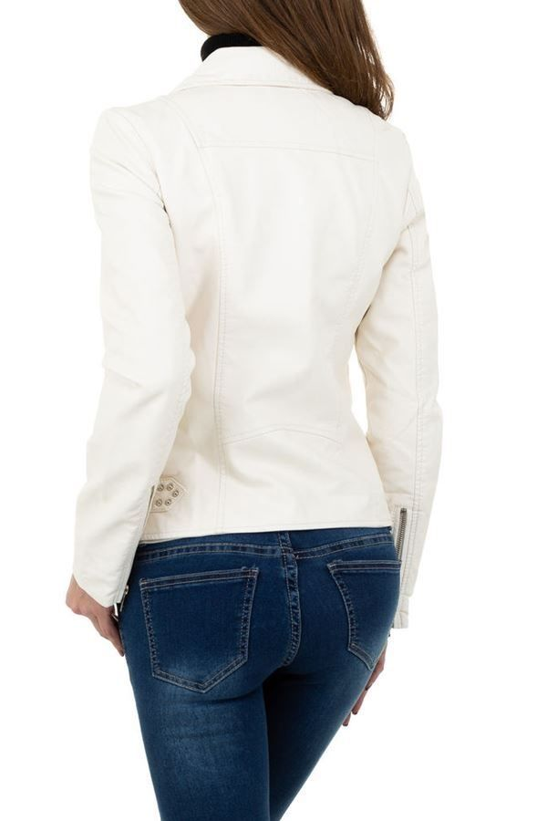 JACKET SHORT ZIP LEATHERETTE WHITE FSWY78182