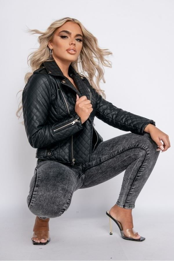 JACKET BIKER LEATHERETTE BLACK PARN13506
