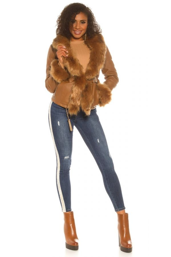 JACKET SHORT FUR LEATHERETTE CAMEL ISDJ50188