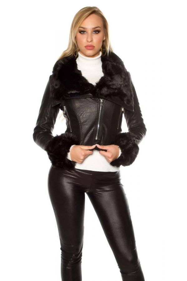 Jacket Leatherette Short Fur Black ISDF95377