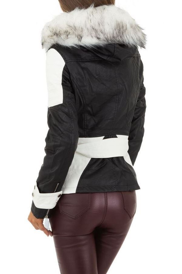 JACKET PADDED LEATHERETTE BLACK WHITE FSWY94292