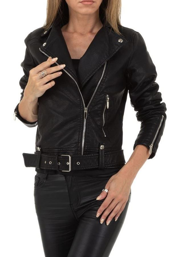JACKET SHORT PADDED LEATHERETTE BLACK FSWY67376