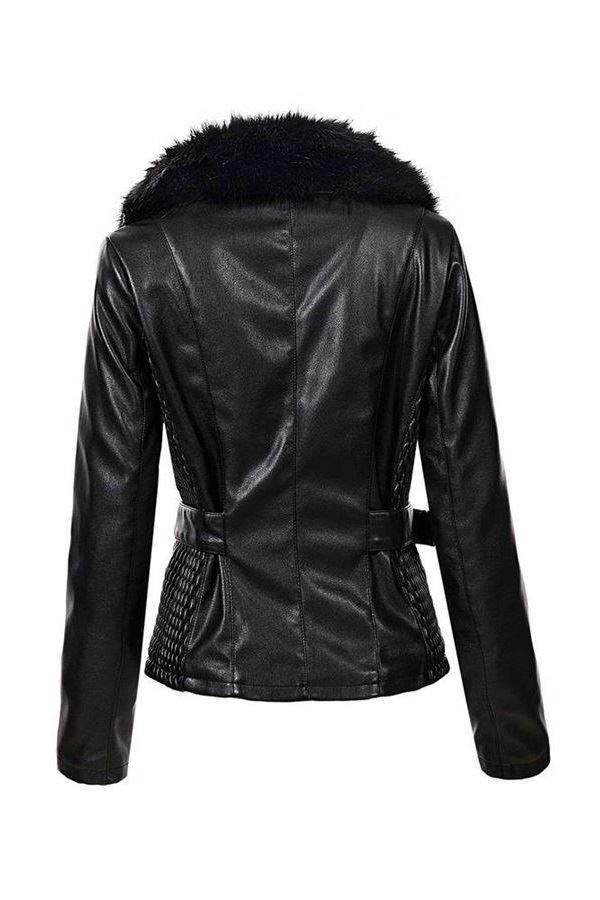 JACKET FUR LAPEL LEATHERETTE BLACK FSWY75292