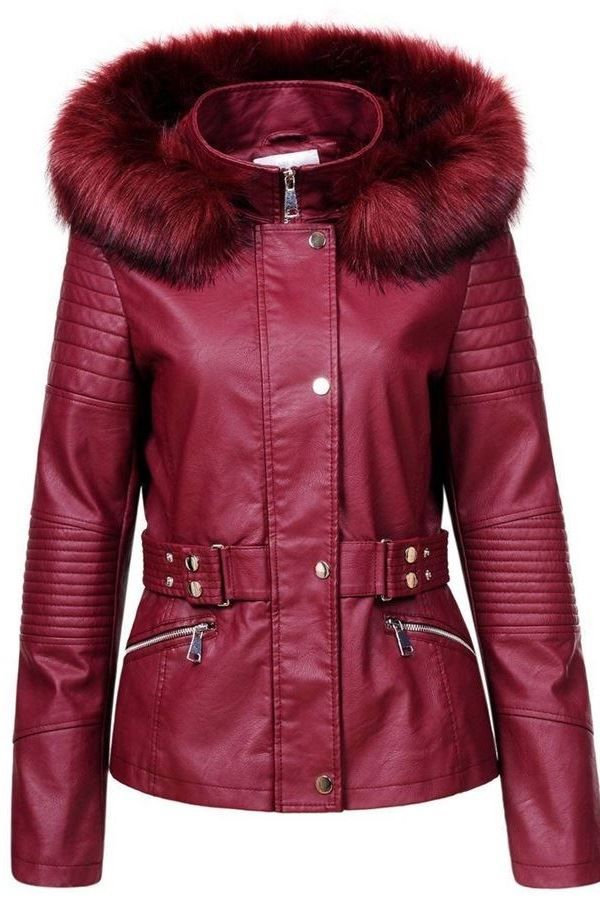 JACKET LEATHERETTE FUR LAPEL BORDEAUX FSWY94341