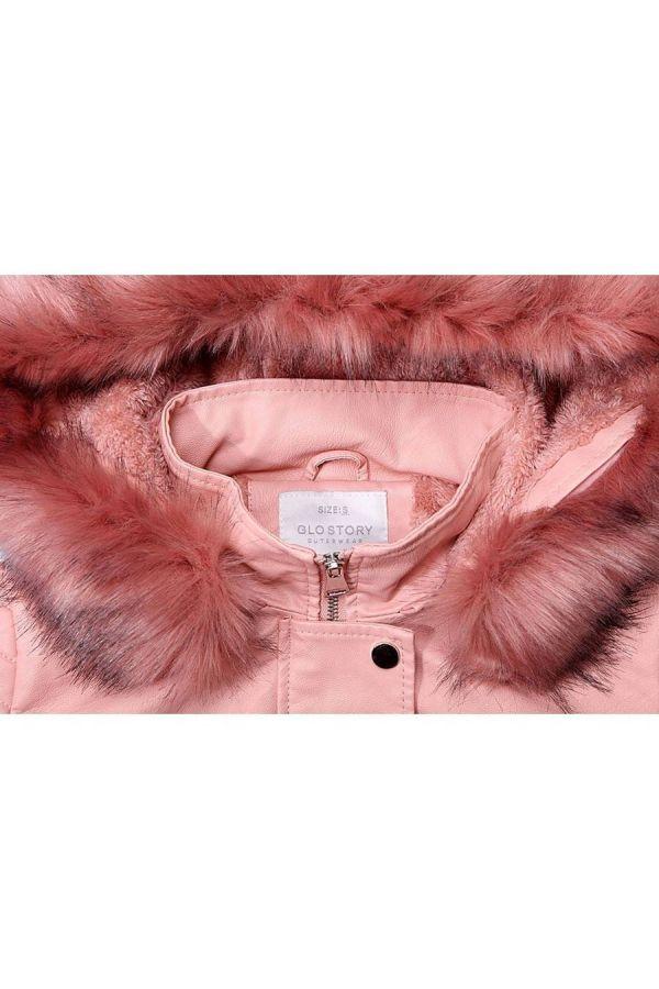 μπουφάν γούνα γιακά δερματίνη ροζ.