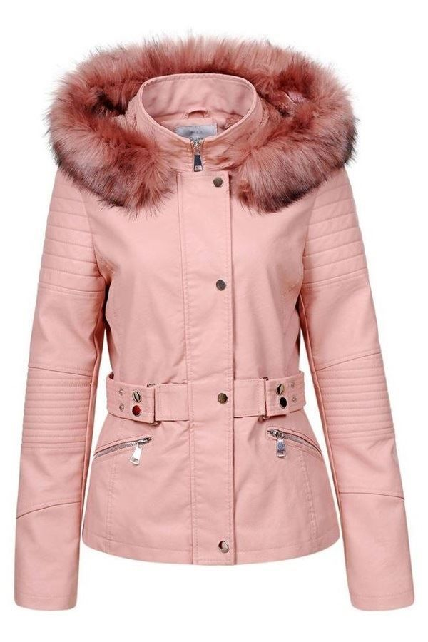 JACKET LEATHERETTE FUR LAPEL PINK FSWY94351