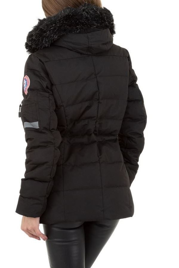JACKET PADDING HOOD FUR BLACK FSW64251