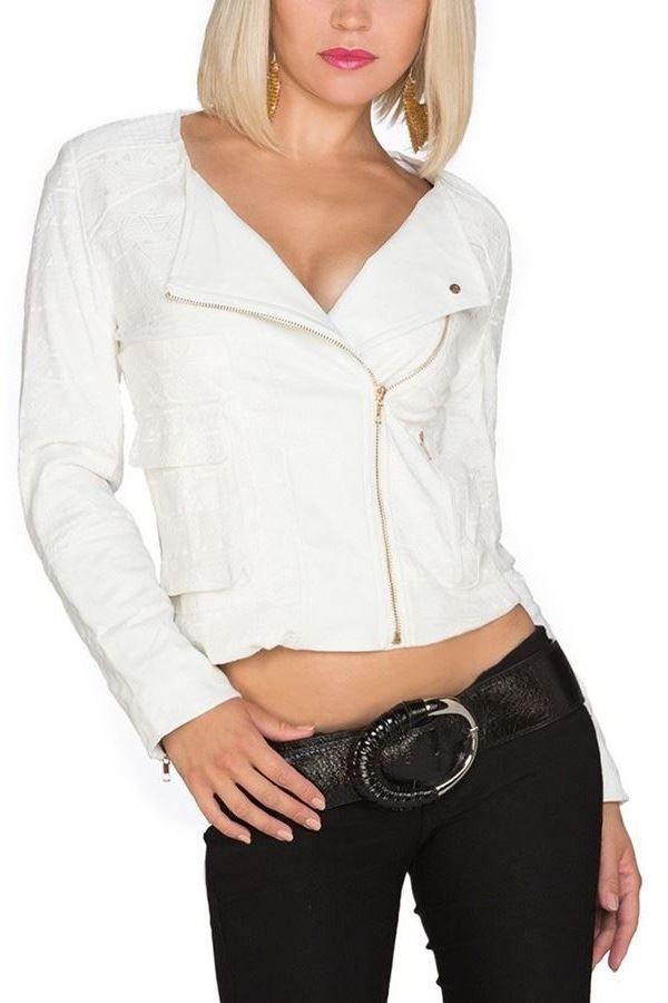 jacket short zippers leatherette white.