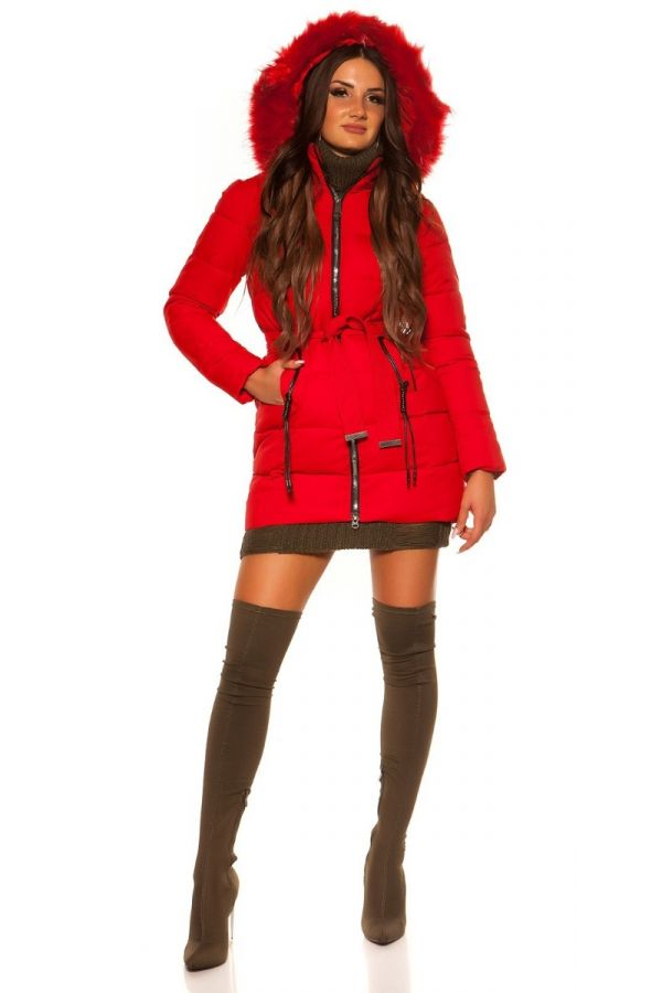 JACKET PADDED HOOD FUR RED ISDJY18603