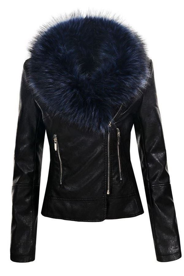 JACKET BLUE FUR LAPEL LEATHERETTE BLACK FSWY50781