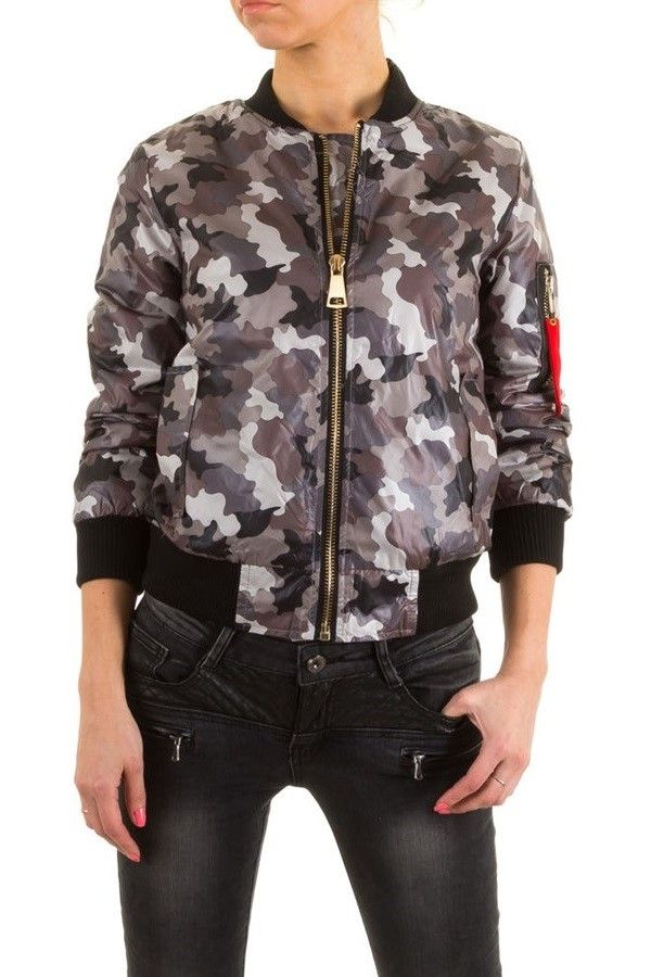 JACKET SHORT PADDED BOMBER CAMOUFLAGE GREY FSW03120