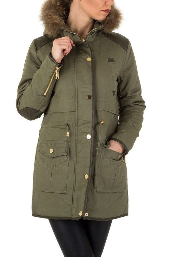JACKET LONG PADDED HOOD FUR KHAKI FSWD03111