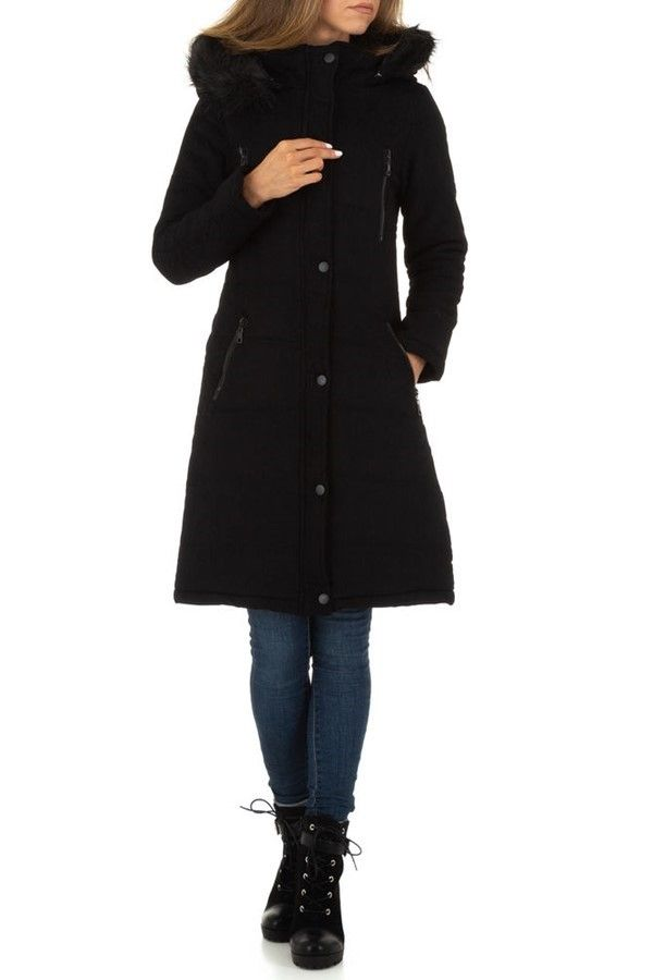 JACKET LONG PADDED HOOD FUR BLACK FSWL00961