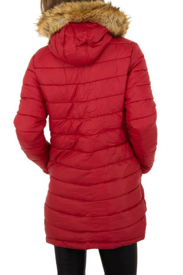 JACKET DOUBLE SIDED PADDED HOOD FUR BLACK RED FSWW52001