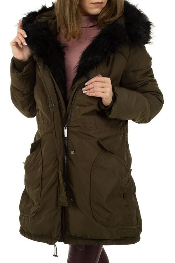 JACKET LONG PADDED FUR KHAKI FSWA501411