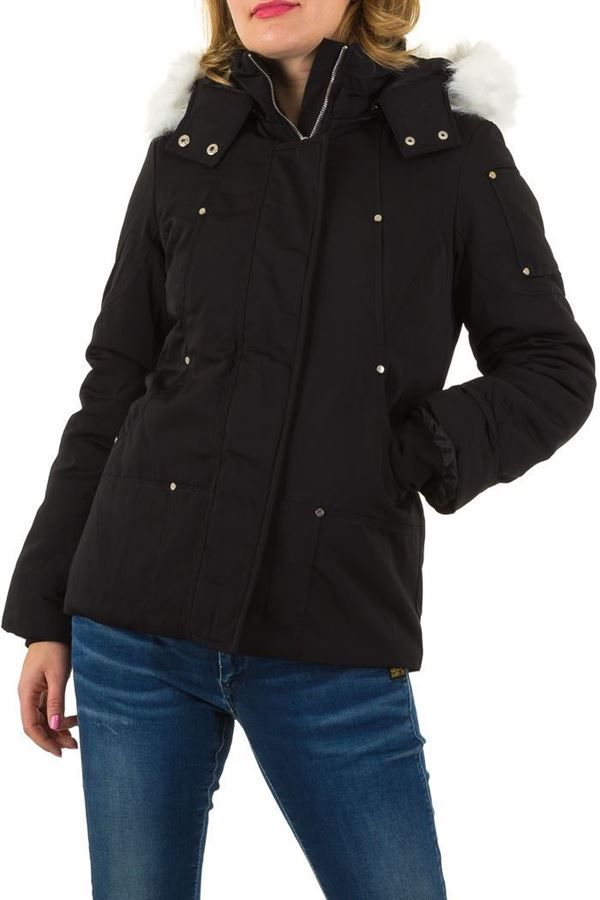 JACKET PADDED HOOD FUR BLACK FSW93811