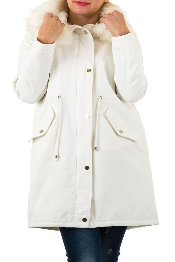 JACKET FUR PADDED HOOD WHITE FSW8151