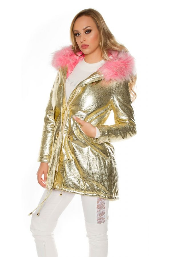 JACKET PADDED PINK FUR METALLIC GOLD ISDJF9201