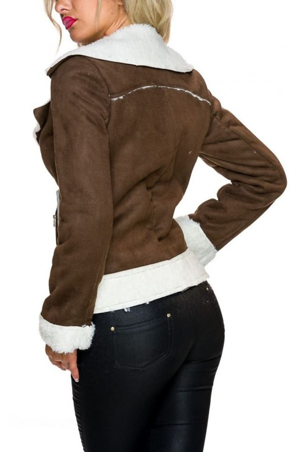 JACKET SHORT WHITE FUR BROWN TQ1624619