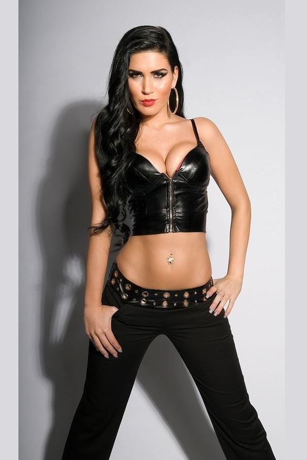 TOP BUSTIER ZIP WETLOOK BLACK ISDF22242