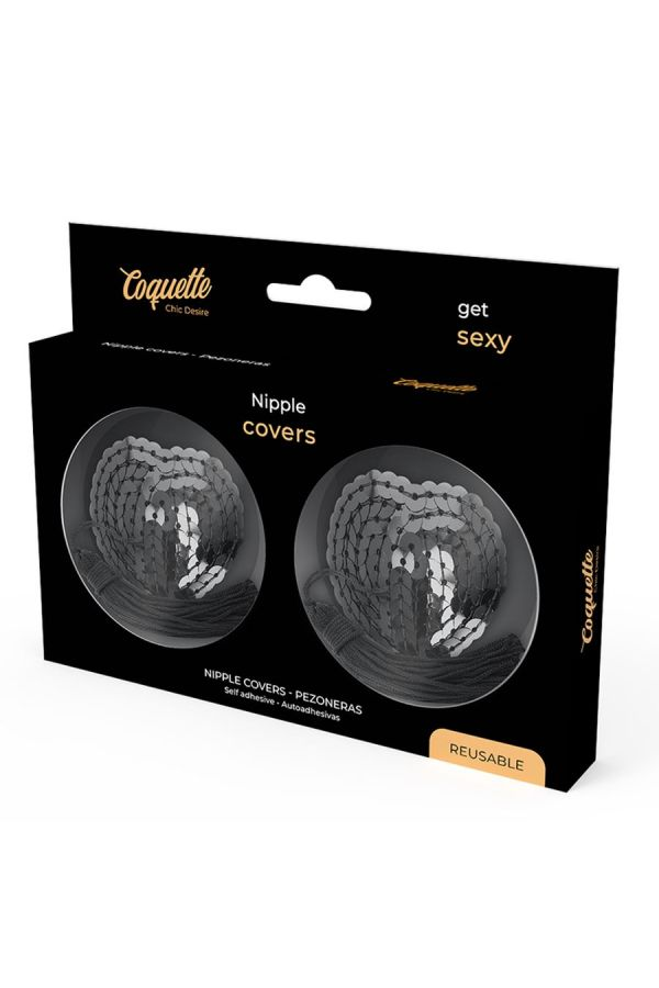nipple patches self adhesive sequins black.
