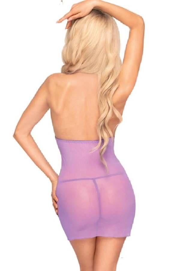 Νυχτικό Φόρεμα Στρινγκ Διαφάνεια Αμάνικο Λιλά DRED227416