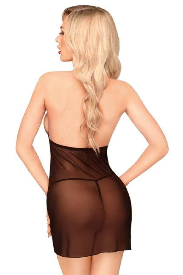 Νυχτικό Φόρεμα Στρινγκ Διαφάνεια Αμάνικο Μαύρο DRED227409