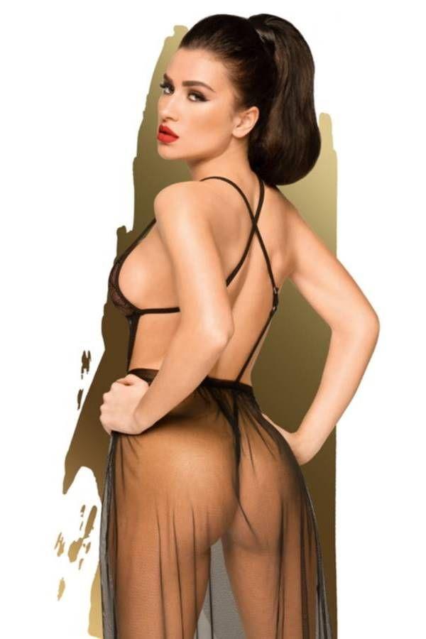 Νυχτικό Σέξι Διάφανο Λουριά Μαύρο DRED227418