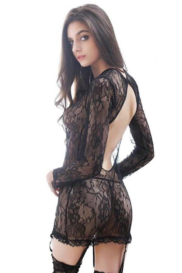 Night Dress Long Sleeves Garter Belts Lace Black DRED223350