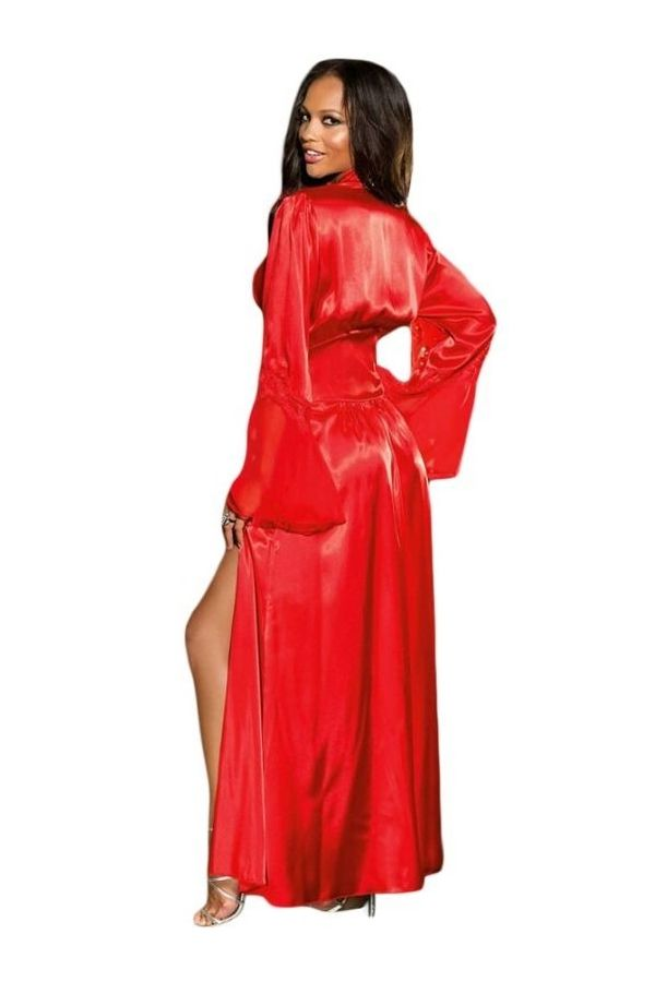 long satin red sleepwear gown sexy with long sleeves and lace.