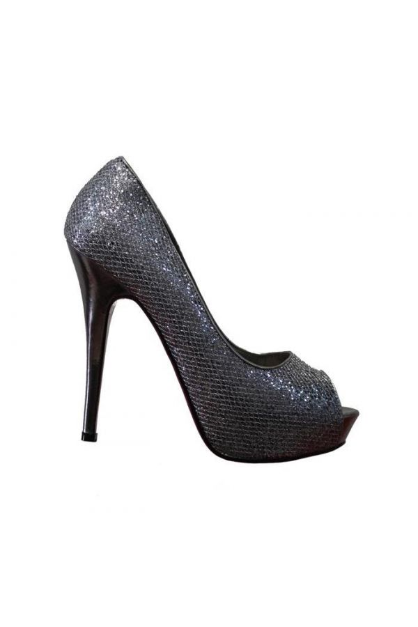 formal peep toes pumps decorated with glitter silver