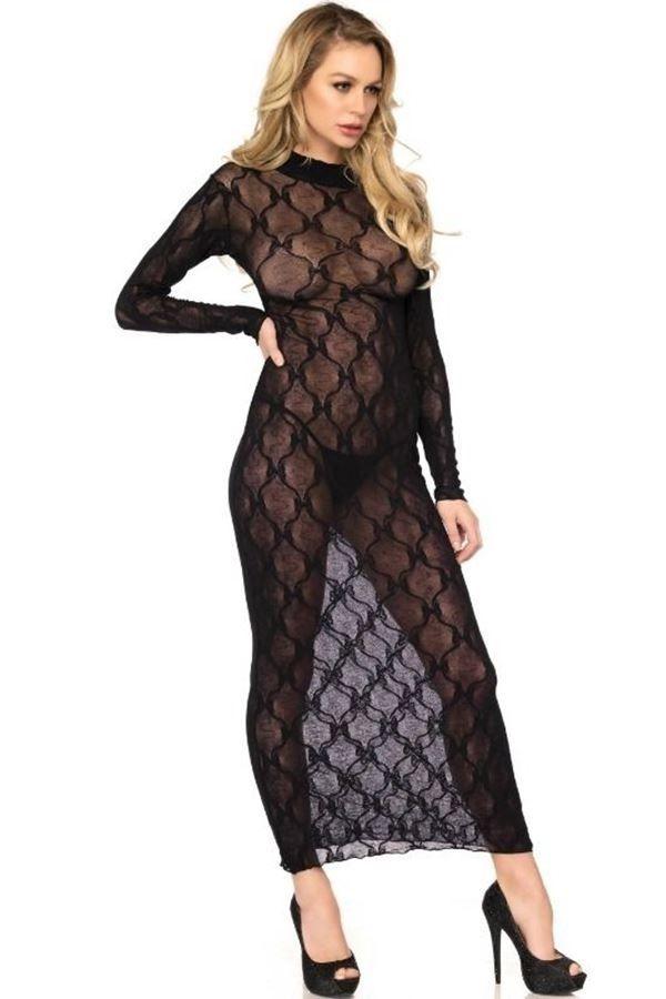 νυχτικό φόρεμα μακρύ δαντέλα μαύρο.