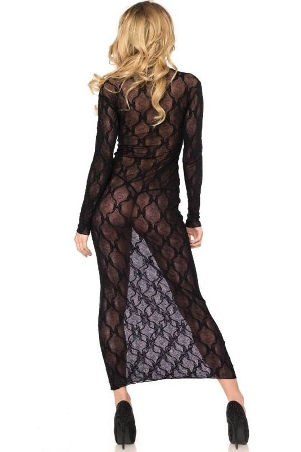 NIGHTDRESS MAXI LACE BLACK DRED215345