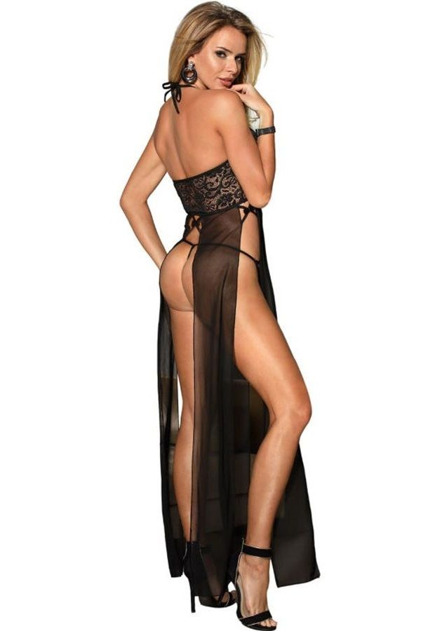 NIGHTDRESS LONG SEXY TRANSPARENCY STRING LACE BLACK DRED220784
