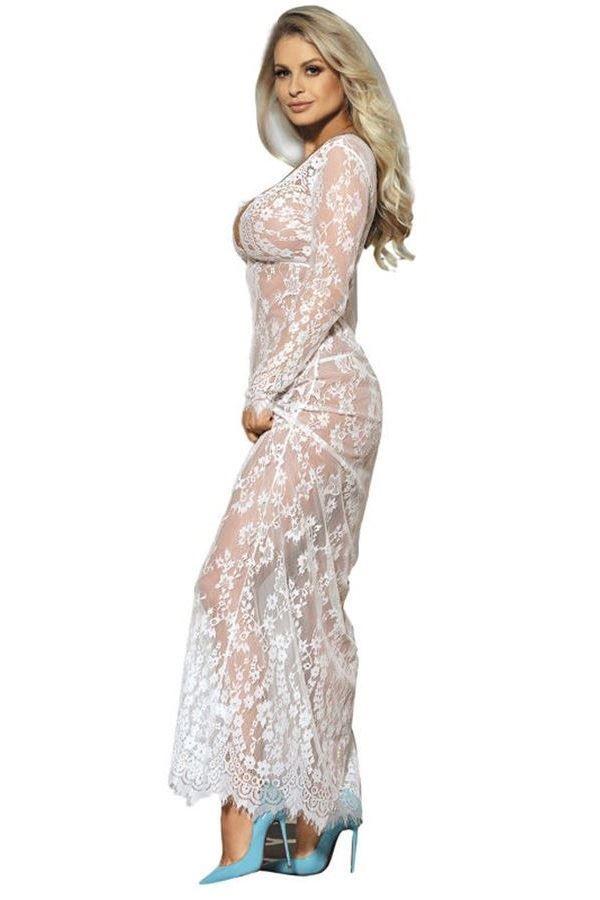 νυχτικό φόρεμα μακρύ δαντελωτό σέξι μακριά μανίκια άσπρο.