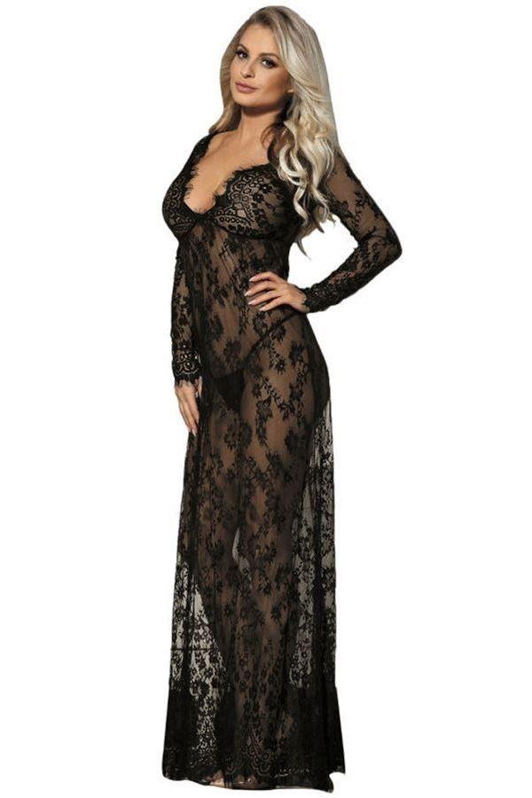 νυχτικό φόρεμα μακρύ δαντελωτό σέξι μακριά μανίκια μαύρο.