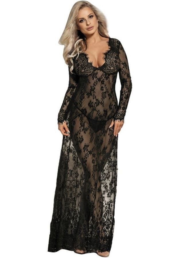 NIGHTDRESS LONG LACE SEXY BLACK DRED220668