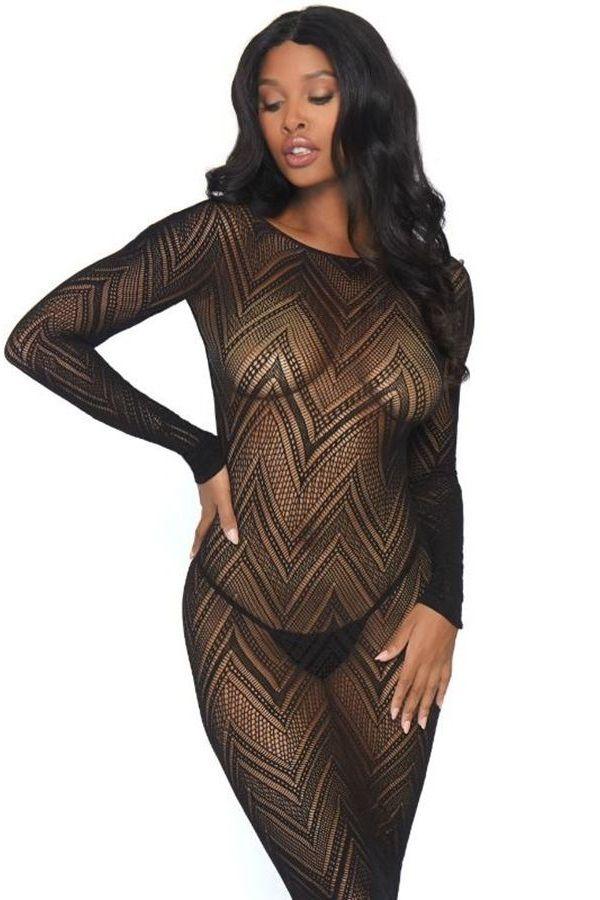 νυχτικό φόρεμα μακρύ chevron μαύρο.