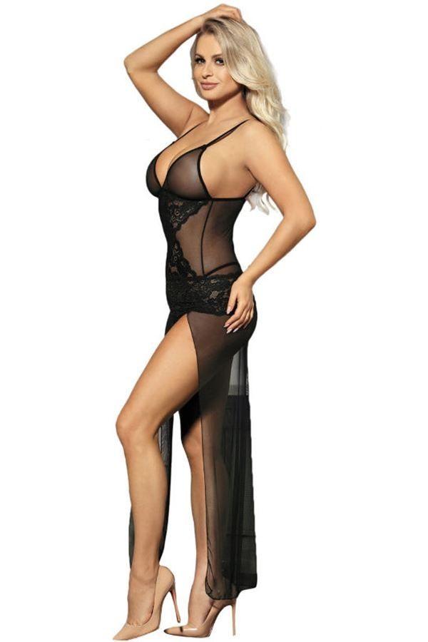 nightdress long sexy transparency lace black.