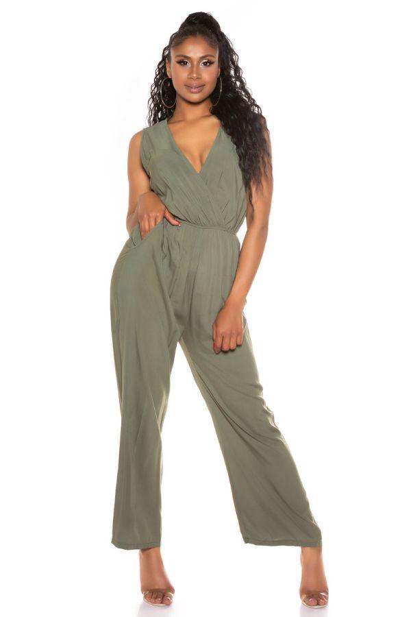 Jumpsuit Casual Sleeveless Olive ISDV67118