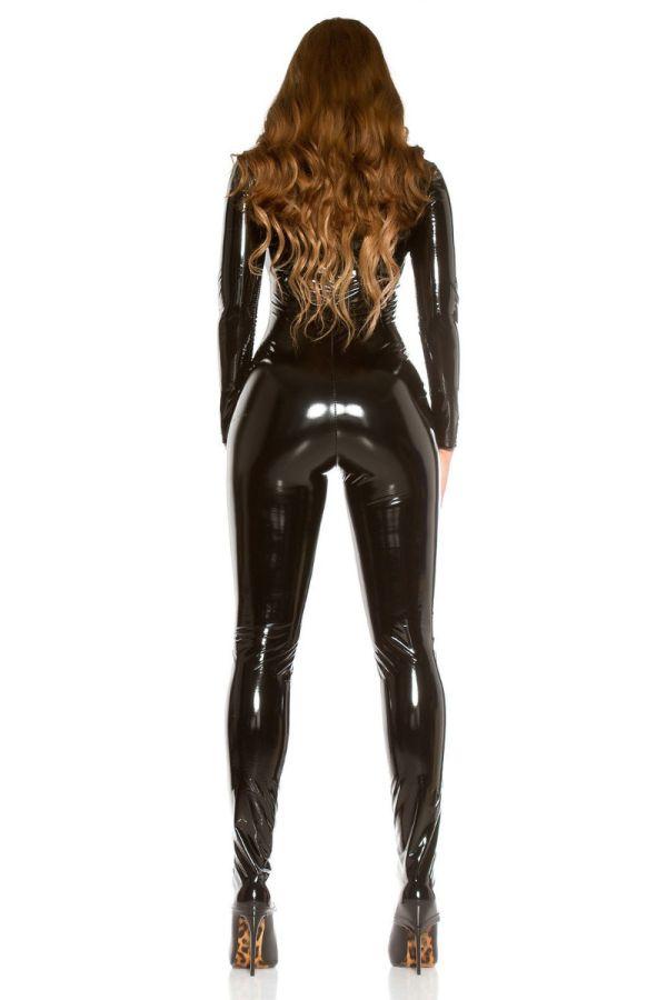 ολόσωμη φόρμα σέξι βινύλιο μαύρη.