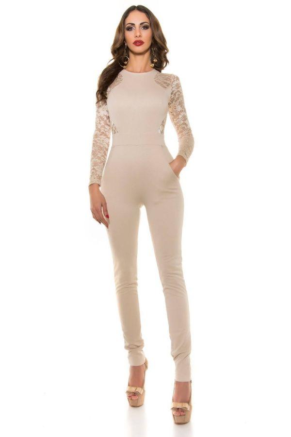 jumpsuit evening lace beige.