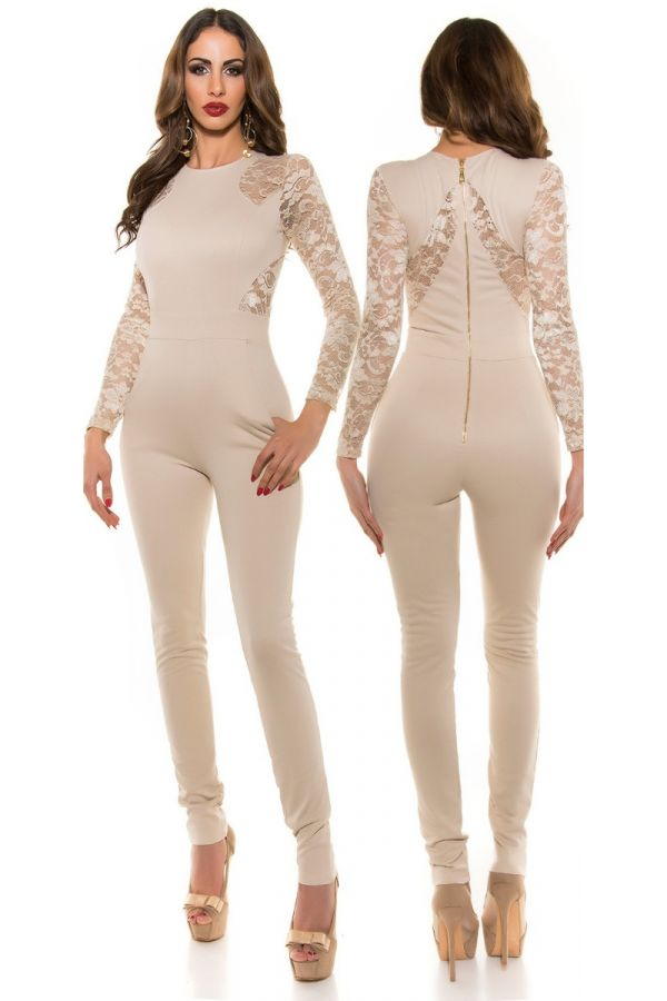 JUMPSUIT EVENING LACE BEIGE ISDV189511