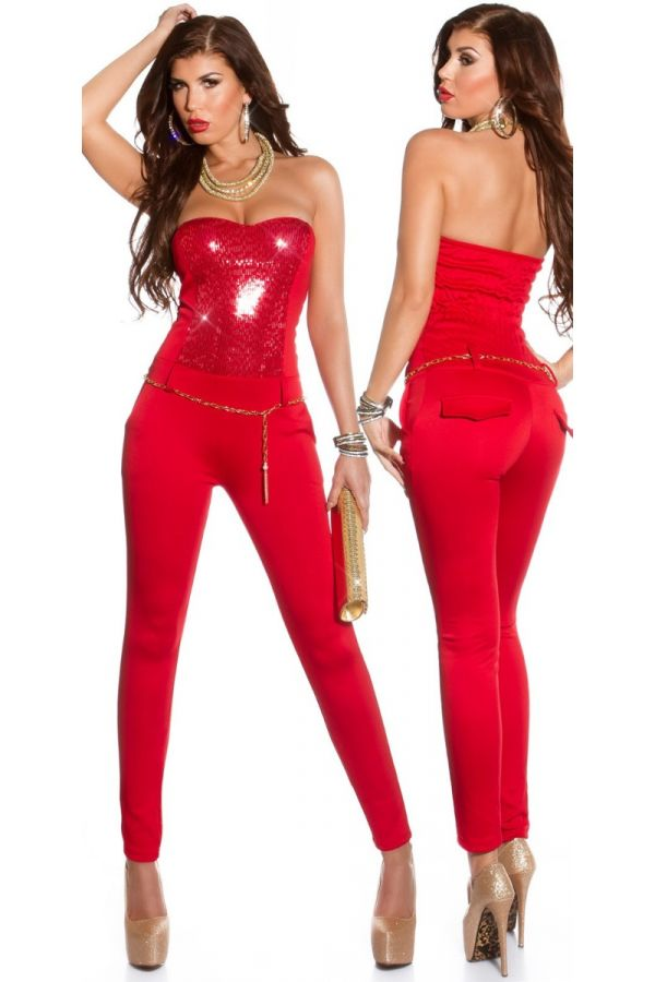JUMPSUIT FORMAL STRAPLESS SEQUINS RED ISDK65641