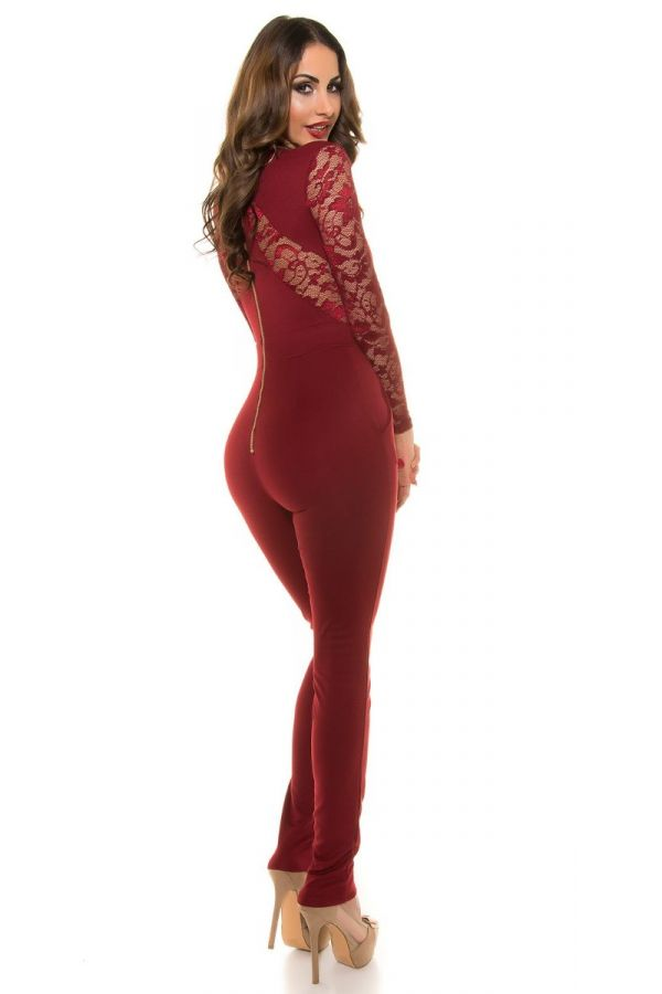 JUMPSUIT EVENING LACE BORDEAUX ISDV189515