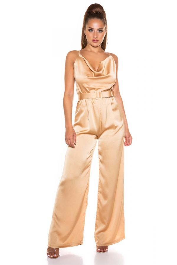 Jumpsuit Evening Sexy Back Cappuccino ISDK261364