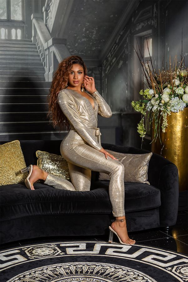 jumpsuit glamour sexy gold.