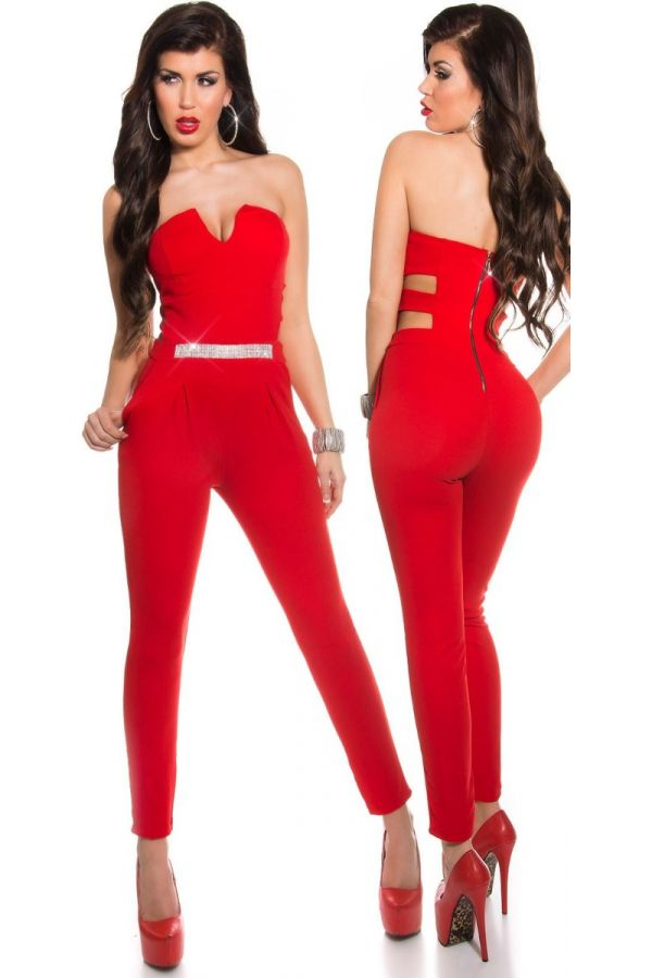 JUMPSUIT FORMAL STRAPLESS CUTOUTS RED ISDV675630
